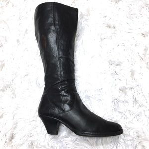 Born NAVI Knee High Heeled Boots Size 8 Leather